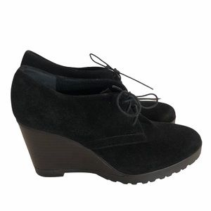 Browns suede lace up black wedge shoes
